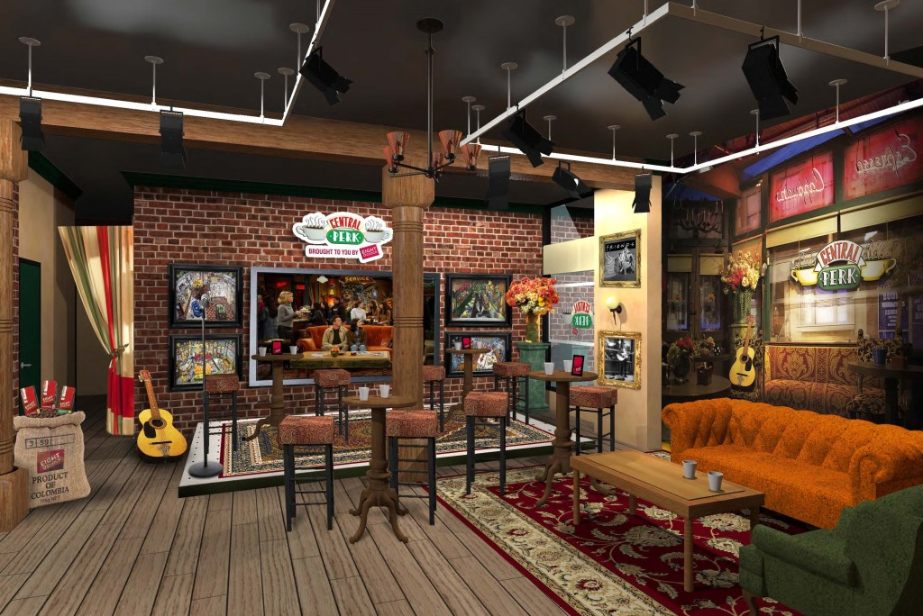Central Perk-Friends Orange Couch + Seating Area